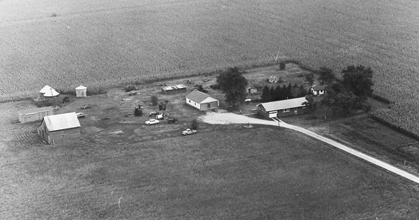 Vintage Aerial photo from 1966 in Piatt County, IL