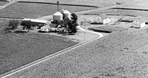 Vintage Aerial photo from 1973 in Logan County, IL